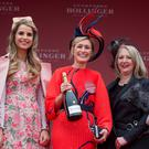 The Winner of The Best Dressed Lady at Punchestown today was Ann Marie Phelan, Kilkenny with judges, Vogue Williams and Bairbre Power. Photo: Colin O'Riordan