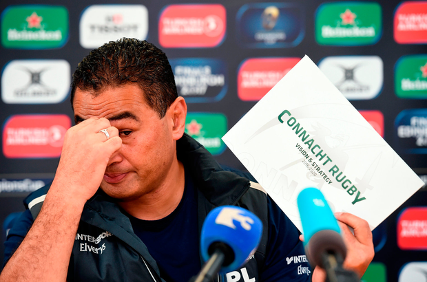 A tearful Pat Lam breaking the news about his departure from Connacht last December. Photo by Matt Browne/Sportsfile