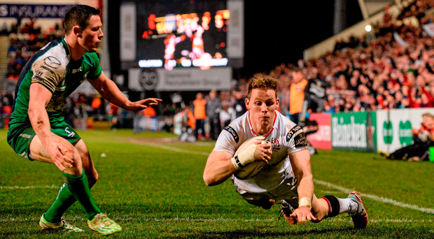 Craig Gilroy, Ulster dives over the line to score his side's second try. Picture credit: Oliver McVeigh / SPORTSFILE