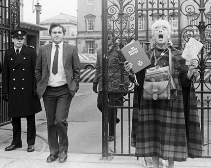Fianna Fáil's then chief whip Bertie Ahern leaving the Dáil at the time of the 1983 abortion referendum Photo: Photocall Ireland