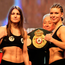 Katie Taylor and Nina Meinke weigh-in ahead of their lightweight WBA Inter-Continental contest at Wembley Arena. Photo: Richard Heathcote/Getty Images