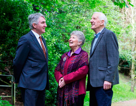 Professor Noel Caplice, left, with John Nolan, a participant in the trial, and his wife Margaret Photo: Clare Keogh