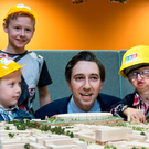 Simon Harris with his 'builders' at the announcement of the new children's hospital at Connolly and Tallaght in Dublin, as the row continues over the relocation of the National Maternity Hospital Photo: Colin O'Riordan