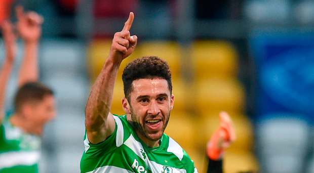 Roberto Lopes of Shamrock Rovers celebrates after scoring against Limerick FC. Photo: Matt Browne/Sportsfile