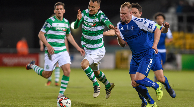 28 April 2017; Graham Burke of Shamrock Rovers in action against Robbie Williams of Limerick FC during the SSE Airtricity League Premier Division match between Shamrock Rovers and Limerick FC at Tallaght Stadium in Dublin. Photo by Matt Browne/Sportsfile