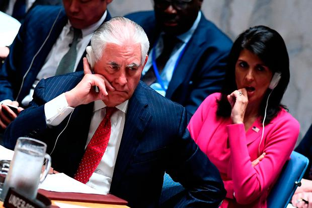 US Secretary of State Rex Tillerson and US Ambassador to the UN Nikki Haley at the security council meeting on North Korea. Photo: Getty Images