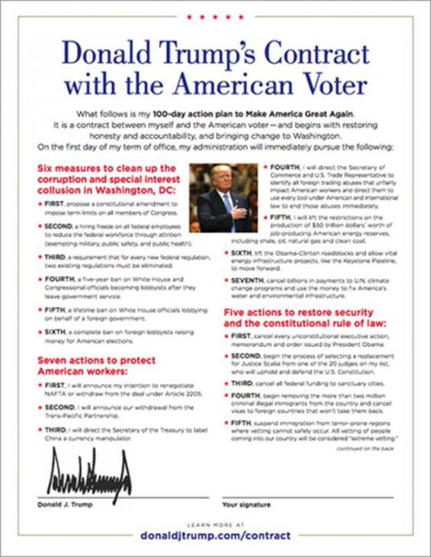 Trump's contract with voters ahead of the election