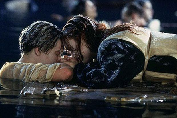 Leonardo DiCaprio and Kate Winslet as Jack and Rose in Titanic