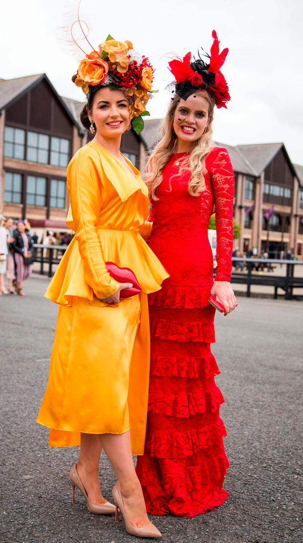 Sarah Cass, Kilkenny and Ann Marie Corbett, Cork, at the Punchestown races. Picture: Colin O'Riordan