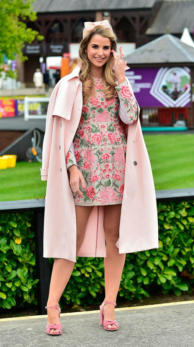 Vogue Williams at the fourth day of the Punchestown Racing Festival. Picture: Michael Chester
