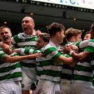 Celtic's Callum McGregor celebrates scoring his sides' third goal