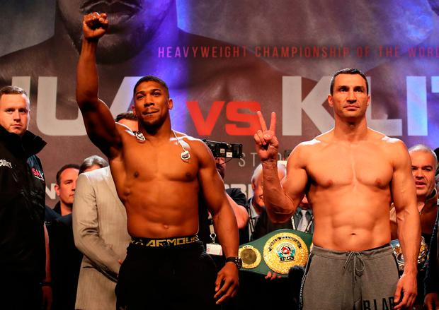 Anthony Joshua and Wladimir Klitschko during the Weigh In