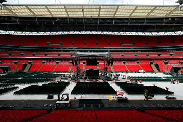 Britain Boxing - Anthony Joshua & Wladimir Klitschko Weigh-In - Wembley Arena - 28/4/17 General view of preparations in Wembley Stadium ahead of the fight Action Images via Reuters / Andrew Couldridge Livepic EDITORIAL USE ONLY.