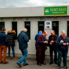 Supporters of both sides purchase tickets before the EirGrid All-Ireland U21 Football Final match between Dublin and Galway at O'Connor Park