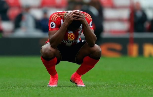 Sunderland's Victor Anichebe looks dejected after Bournemouth's Joshua King scored