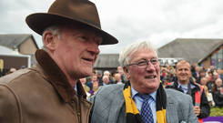 Owner Pat McSweeney, right, points to trainer Willie Mullins after winning the Tattersalls Ireland Champion Novice Hurdle with Bacardys at Punchestown Racecourse in Naas, Co. Kildare. Photo by Seb Daly/Sportsfile