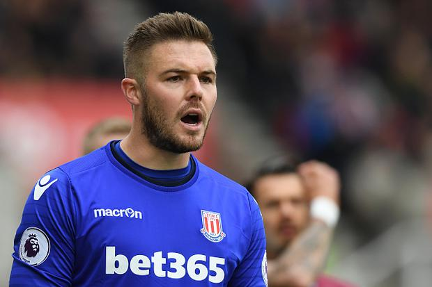 Jack Butland of Stoke City looks on during the Premier League match between Stoke City and West Ham United at Bet365 Stadium on April 29, 2017 in Stoke on Trent, England. (Photo by Gareth Copley/Getty Images)