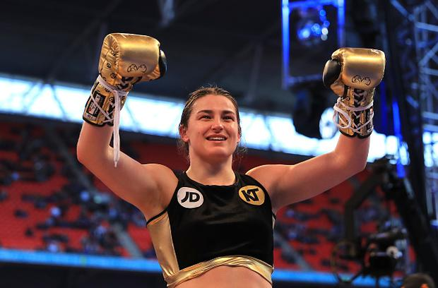 Katie Taylor celebrates victory over Nina Meinke in the WBA Lightweight Championship bout at Wembley Stadium on April 29, 2017 in London, England. (Photo by Richard Heathcote/Getty Images)