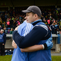 Dublin manager Dessie Farrell celebrates with Glenn O'Reilly after the EirGrid GAA Football All-Ireland U21 Championship Semi-Final match between Dublin and Donegal at Kingspan Breffni Park in Cavan. Photo by Piaras Ó Mídheach/Sportsfile