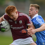 Peter Cooke of Galway is tackled by Darragh Spillane of Dublin during the EirGrid All-Ireland U21 Football Final match between Dublin and Galway at O'Connor Park in Tullamore, Dublin. Photo by Cody Glenn/Sportsfile