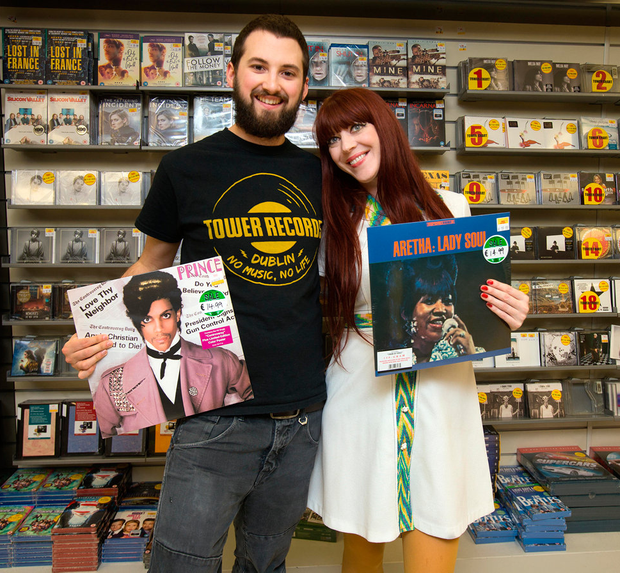 The vinyl frontier: Karl McCrone from Sandyford and Angie Sheehan from Stoneybatter at the Tower Records outlet in Eason's on O'Connell Street for Record Store Day Photo: Tony Gavin