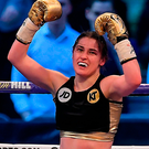 29 April 2017, Katie Taylor celebrates victory over Nina Meinke during their WBA Inter-Continental Lightweight Championship bout at Wembley Stadium, in London, England. Photo by Brendan Moran/Sportsfile