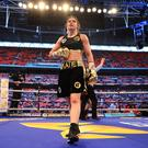 LONDON, ENGLAND - APRIL 29: Katie Taylor celebrates victory over Nina Meinke in the WBA Lightweight Championship bout at Wembley Stadium on April 29, 2017 in London, England. (Photo by Richard Heathcote/Getty Images)