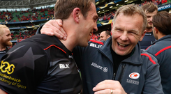 Mark McCall, Saracens' director of rugby, celebrates with Chris Wyles after his side defeated Munster last week. Photo: Getty Images