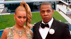 Billionaire's Row: Beyonce and Jay Z inset over an aerial photo of 454 Cuesta Way in Bel Air, Los Angeles