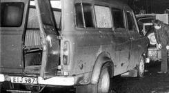 Murder scene: The bullet-riddled minibus in which the 10 Protestant workmen had been travelling in January 1976 Photo: PA