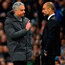 Jose Mourinho and Pep Guardiola exchange words on the touchline during last week's deadlock at the City of Manchester Stadium. Mourinho believes his cross-city rivals are dead certs for the top four. Photo: Laurence Griffiths/Getty Images