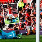 Marcus Rashford went down very easily against Swansea