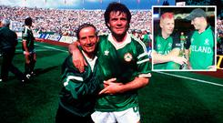 Ray Houghton after beating England in 1988 and (inset) Kevin O'Brien with brother Niall in 2011