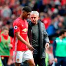 Manchester United's Marcus Rashford (left) with Manchester United manager Jose Mourinho after the final whistle