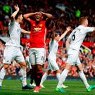 Manchester United's Anthony Martial (centre) reacts during the Premier League match at Old Trafford, Manchester