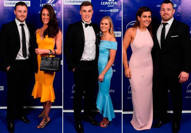 (L to R) Robbie Henshaw and Sophie Marren, Garry Ringrose and Ellen Beirne and Cian Healy with Laura Smith
