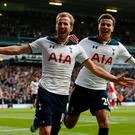 Tottenham's Harry Kane celebrates scoring their second goal with Dele Alli