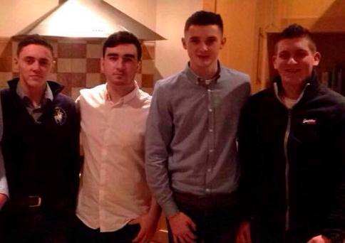 Nathan Fullerton, far left, and Nathan Farrell, far right, were killed in the crash in which their pals Jimmy McKenna, second left, and Ronan Boyd, second right, were also hurt.