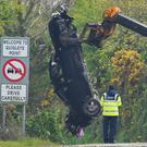 A garda at the scene of the fatal crash in Co Donegal. Photo: Trevor McBride