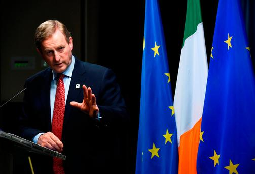 Taoiseach Enda Kenny at a press conference during the EU leaders summit in Brussels over the weekend Photo: JOHN THYS/AFP/Getty Images