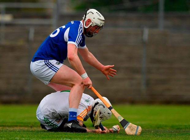 Goalkeeper Shane McGann of Meath in action against Neil Foyle of Laois. Photo by Ray McManus/Sportsfile