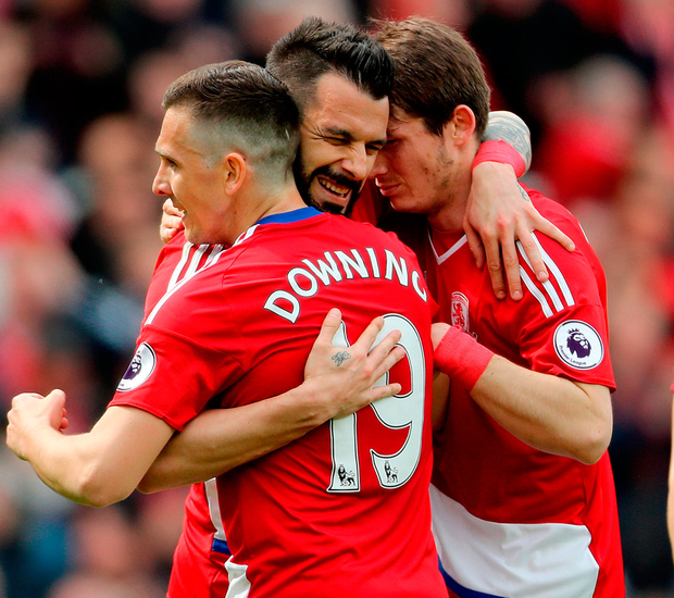 Middlesbrough's Alvaro Negredo (centre) celebrates scoring his side's first goal of the game during thematch at the Riverside Stadium. Photo: Owen Humphreys/PA