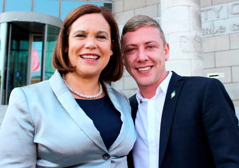 Former Sinn Féin councillor Jonathan Dowdall poses for pictures on the steps of Dublin City Council with party deputy leader Mary Lou McDonald