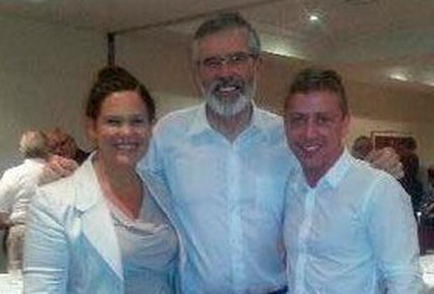 Jonathan Dowdall (right) pictured with Sinn Fein leader Gerry Adams and Mary Lou McDonald