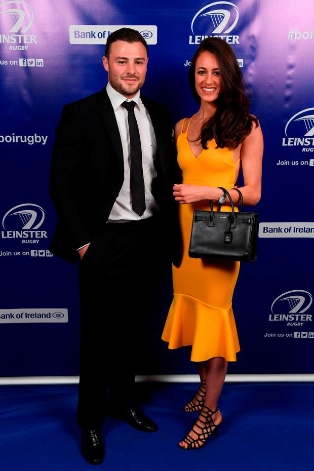 On arrival at the Leinster Rugby Awards Ball, Leinster's Robbie Henshaw and Sophie Marren. Photo: Stephen McCarthy/Sportsfile