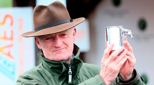 Willie Mullins after clinching the jump trainer's title. Photo credit: Brian Lawless/PA Wire