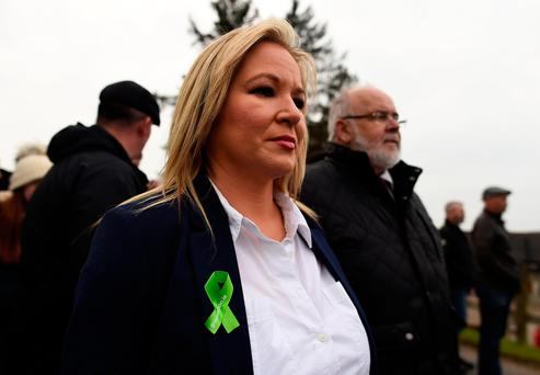 Party leader Michelle O'Neill takes part in a Sinn Féin commemorative parade to mark the 30th anniversary of the death of IRA activists in Loughgall, in the village of Cappagh, Northern Ireland. Photo: REUTERS/Clodagh Kilcoyne