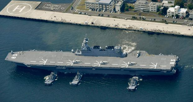 Japan's helicopter carrier Izumo departs Yokosuka port on Monday, May 1, 2017, amid rising tension following missiles tests by North Korea (Ren Onuma/Kyodo News via AP)