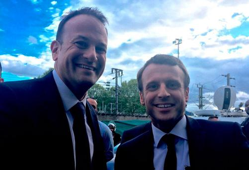 Leo Varadkar yesterday tweeted a photo of him meeting French presidential front-runner Emmanuel Macron in Paris on Sunday.