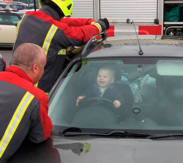 Firefighters rescue 14-month-old Brandon from his mother's car